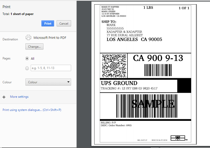 UPS Shipping label generated from StorePep