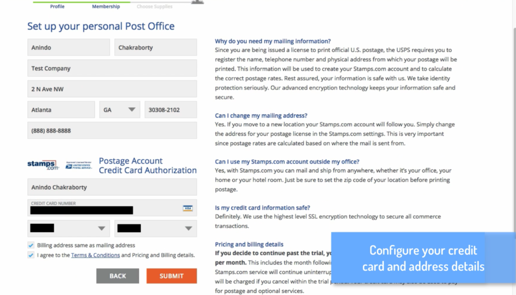 How to create a Stamps com account for integration with