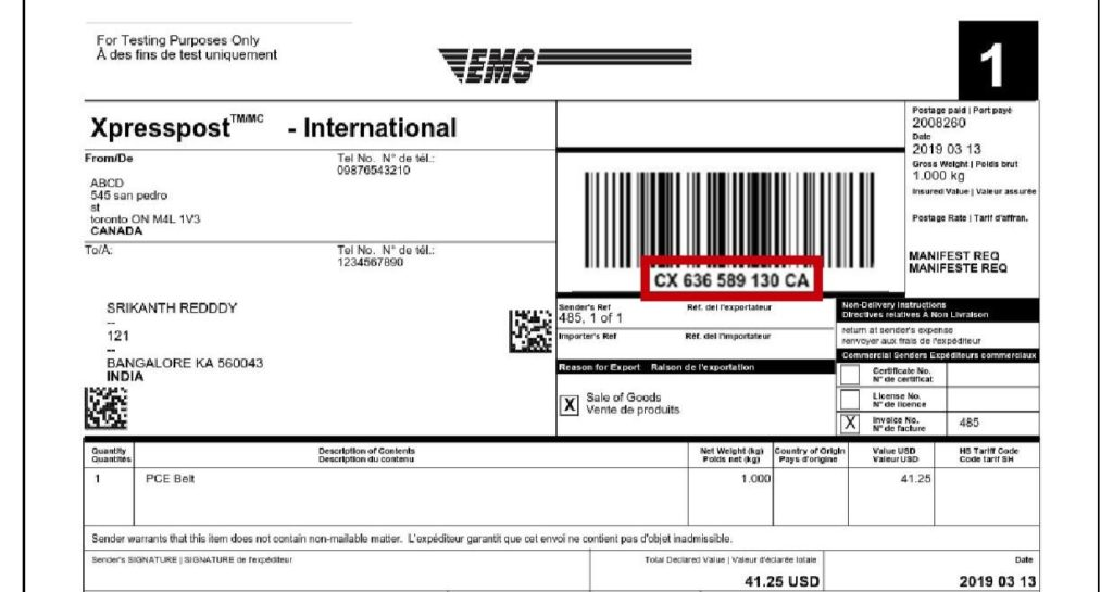 Where to locate tracking number in the label for For International shipping