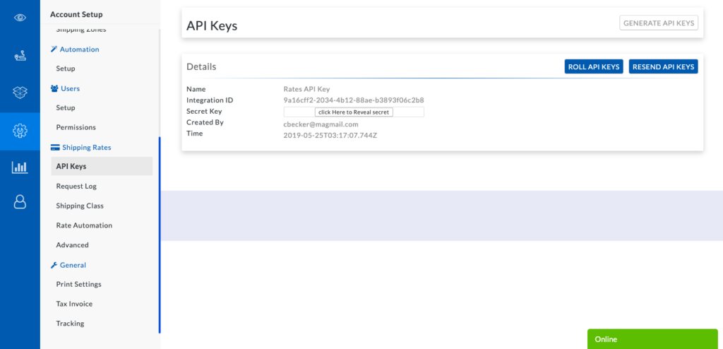 Shipping rate API Keys